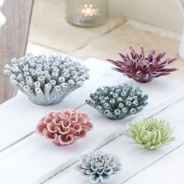 Porcelain flower coral decorations from The Little Boys Room
